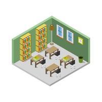 sala de biblioteca isométrica en vector sobre fondo blanco