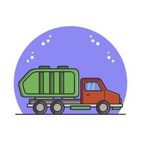 Garbage Truck Illustrated In Vector On White Background