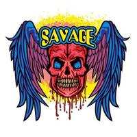 grunge skull and wings vector