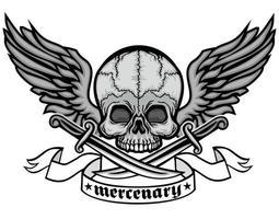 grunge cráneo y alas vector