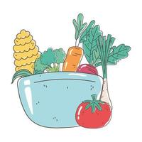 bowl with vegetables fresh market organic healthy food vector