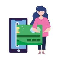 online payment, woman bank card credit money, smartphone ecommerce market shopping, mobile app vector