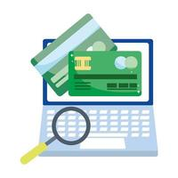 online payment, laptop credit card bank transaction, ecommerce market shopping, mobile app vector