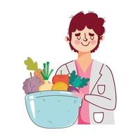 dietitian doctor with dish bowl with fruits and vegetables, fresh market organic healthy food vector