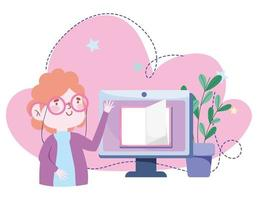 educación en línea, lecciones de libros electrónicos sobre computadoras para maestros, sitios web y cursos de capacitación para dispositivos móviles vector