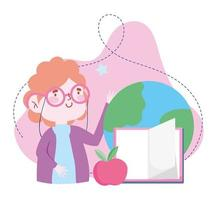 online education, teacher world book and apple, website and mobile training courses vector