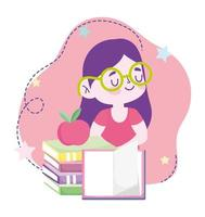 online education, student girl stack of books and apple, website and mobile training courses vector