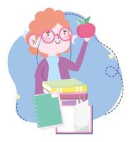 online education, teacher with apple and books stacked, website and mobile training courses vector