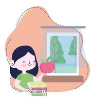 online education, student girl with apple and books in the home, website and mobile training courses vector