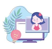 online education, student girl computer creativity class, website and mobile training courses vector