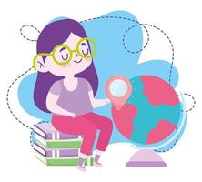 online education, student girl sitting on books and globe map, website and mobile training courses vector