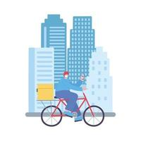 covid-19 coronavirus pandemic, delivery service, delivery man riding bike with mobile in the city, wear protective medical mask vector