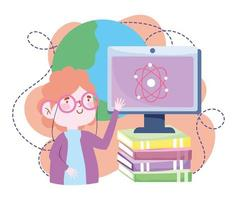online education, teacher computer explain class science with books, website and mobile training courses vector