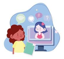 online education, student girls computer with book connection, website and mobile training courses vector