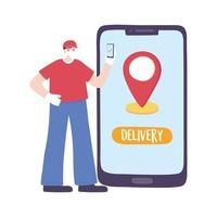 covid-19 coronavirus pandemic, delivery service, delivery man with mobile online market, wear protective medical mask vector