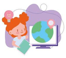 online education, student girl computer world and book, website and mobile training courses vector