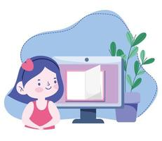 online education, student girl computer book lesson, website and mobile training courses vector
