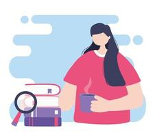 online training, woman with coffee cup and books, education and courses learning digital vector