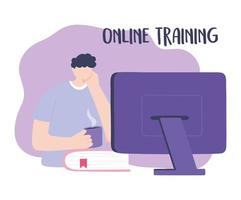online training, boy looking computer with coffee cup, education and courses learning digital vector