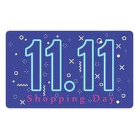 11 11 shopping day, promotion offer event, neon numbers and memphis background