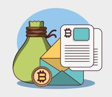 bitcoin cryptocurrency transaction digital bag money email data vector