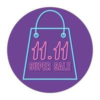 11 11 shopping day, neon numbers and bag sale badge