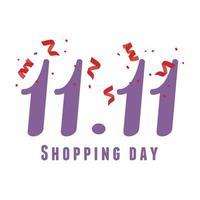 11 11 shopping day, discount event celebration confetti card