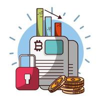 bitcoin data coins chart cryptocurrency transaction digital money vector