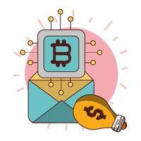 Bitcoin marketing por correo electrónico creatividad criptomoneda transacción dinero digital vector