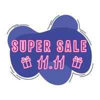 11 11 shopping day, neon typography super sale gifts announce