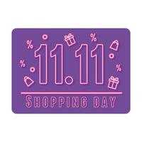 11 11 shopping day, sale offer attention, neon gifts bags and lettering