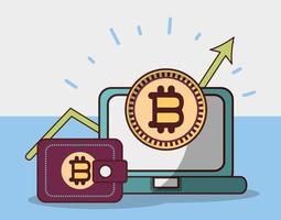 bitcoin laptop wallet growth arrow cryptocurrency transaction digital money vector