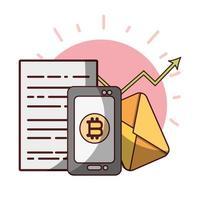 bitcoin smartphone uptrend trade application cryptocurrency digital money vector