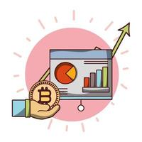 hand with bitcoin cryptocurrency money uptrend board presentaton business vector