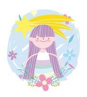 little fairy princess shooting star flowers tale cartoon vector