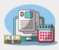 bitcoin portátil calendario billetes dinero criptomoneda transacciones analíticas datos vector