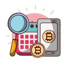 bitcoin smartphone calendario análisis negocio cryptocurrency dinero digital vector