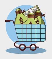 Carrito de compras financiero empresarial con bolsas de dinero y billetes