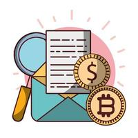 bitcoin monedas dólar correo electrónico análisis de datos criptomoneda dinero digital vector