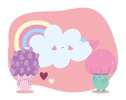 little magic mushrooms rainbow cloud hearts tale cartoon vector