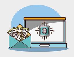 Bitcoin portátil sobre dinero billetes digitales de transacciones de criptomonedas vector