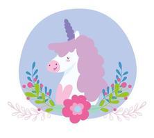 little unicorn flowers branches fantasy magic animal cartoon