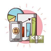bitcoin, smartphone, billetes, estadísticas, dinero, criptomoneda, transacción, digital vector