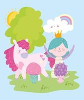 linda princesita de hadas con seta unicornio mágico y dibujos animados de cuento de arco iris vector