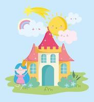 pequeña hada con corona castillo arco iris sol nubes cuento dibujos animados