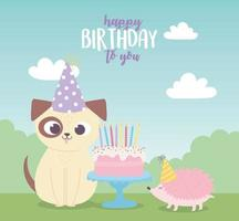 happy birthday, cute dog hedgehog with cake and party hats celebration decoration cartoon vector