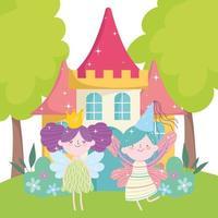 pequeñas hadas princesa con alas corona castillo cuento dibujos animados vector