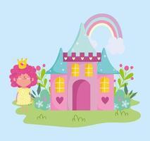 pequeña princesa de hadas con corona castillo arco iris flores cuento dibujos animados vector