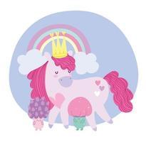 little unicorn cartoon rainbow fantasy magic animal