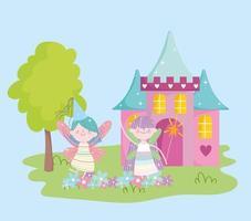 pequeñas hadas aladas princesa con castillo flores cuento dibujos animados